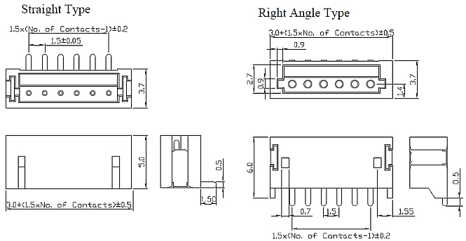 15002X1TXXXA1XX Straight and Right Angle Type